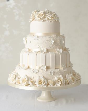 کیک عروسی چند طبقه تک رنگ شیک