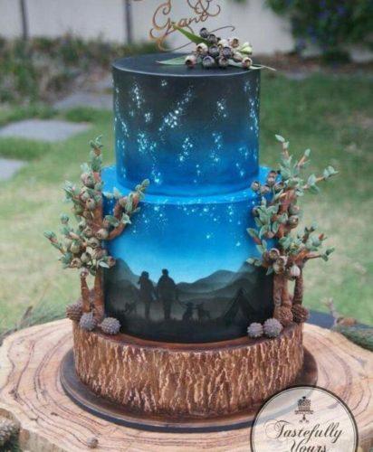 کیک با طرح سه بعدی برجسته یکی از جذابترین و جدیدترین مدل کیک عروسی